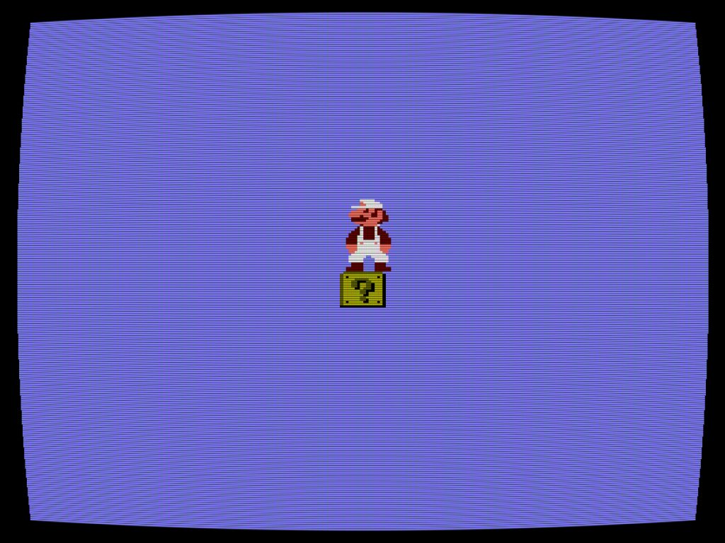 Image of Cory Arcangel, still from Totally Fucked, 2003, handmade hacked Super Mario Brothers cartridge and Nintendo NES video game system. Courtesy of the artist.