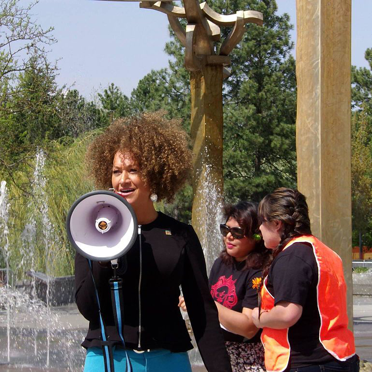 Rachel Dolezal at NAACP rally.