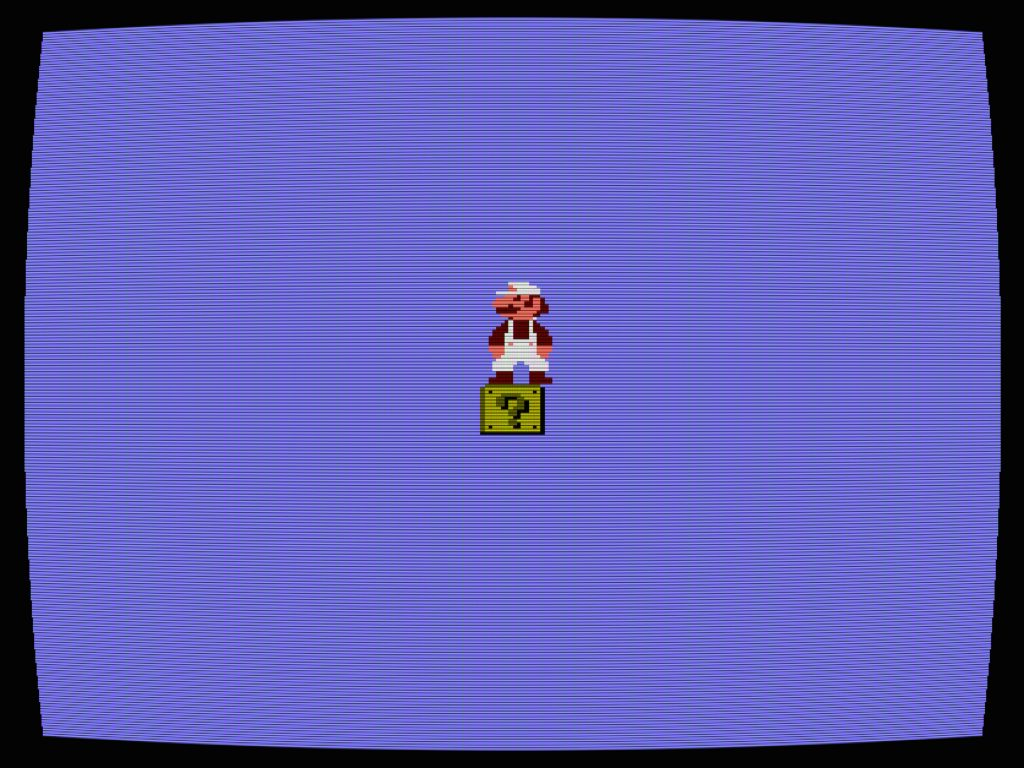 Cory Arcangel, still from Totally Fucked, 2003, handmade hacked Super Mario Brothers cartridge and Nintendo NES video game system. Courtesy of the artist.
